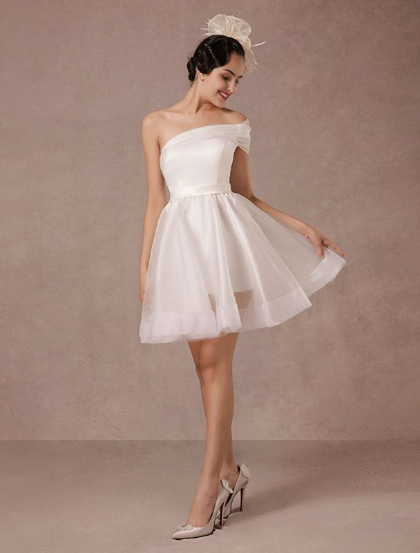 Short Wedding Dress Organza One-Shoulder A-Line Backless Satin Mini Summer Wedding Dresses 2021
