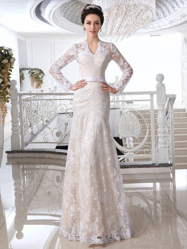 Vestidos de novia Encaje Vestido de novia color champán Escote en V Manga larga Ilusión Vaina Lazo Faja Hasta el suelo Vestido de novia