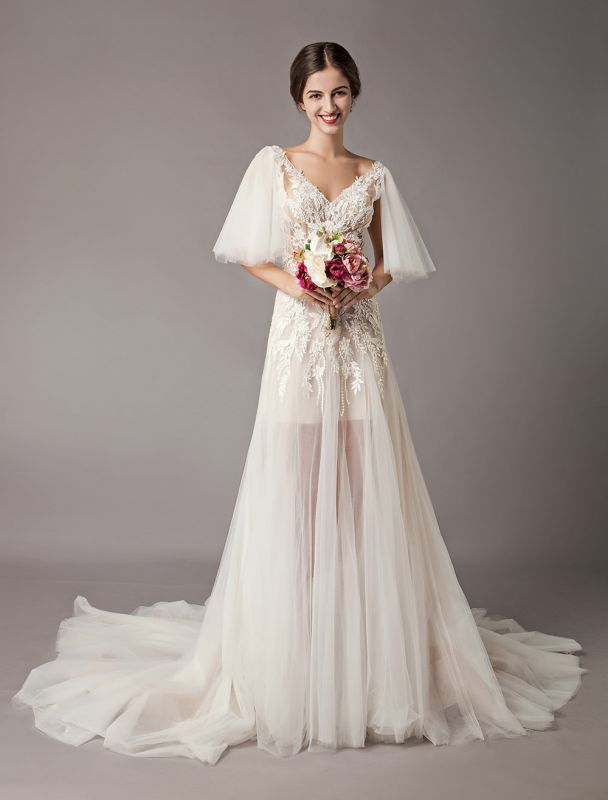 Boho Wedding Dresses Tulle Lace V Neck Butterfly Sleeve Backless Summer Beach Bridal Gowns