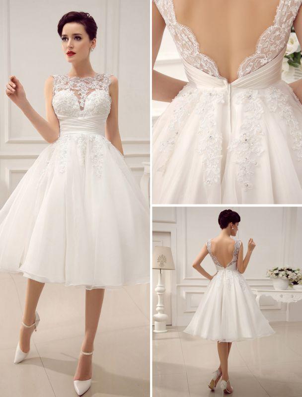 Kurze Brautkleider Vintage 1950er Brautkleid rückenfrei Spitze Perlen Plissee Pailletten Illusion Hochzeitsempfang Kleid mit exklusiven