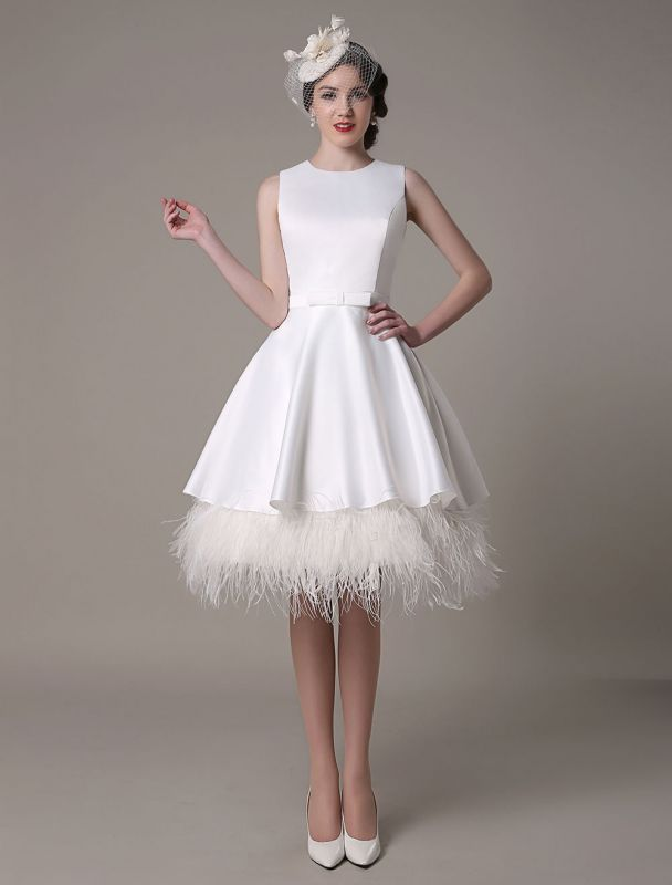 A-Line Wedding Dress Knee-Length Feather Tiered Satin Bow Bridal Dress Exclusive