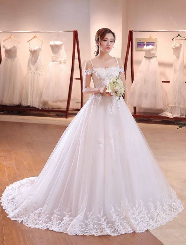 Prinzessin-Hochzeit-Kleider-Off-The-Shoulder-Brautkleid-Träger-Spitze-Applikation-Perlen-Brautkleid-Mit-Langen-Zug