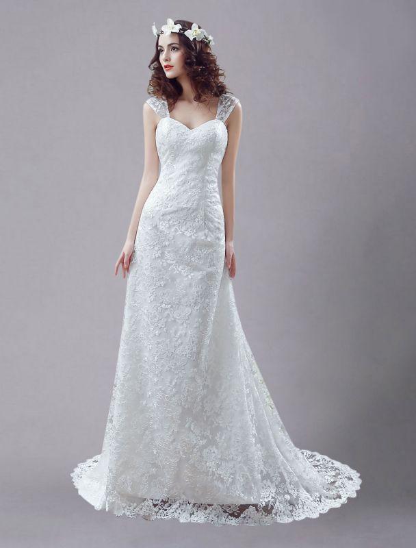 Weißes Brautkleid Queen Anne Mermaid Backless Lace Brautkleid