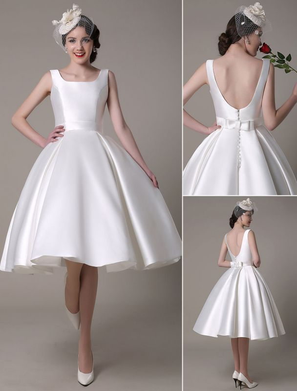 Ivory Wedding Dress Scoop Backless Knee Length Satin Wedding Gown Exclusive