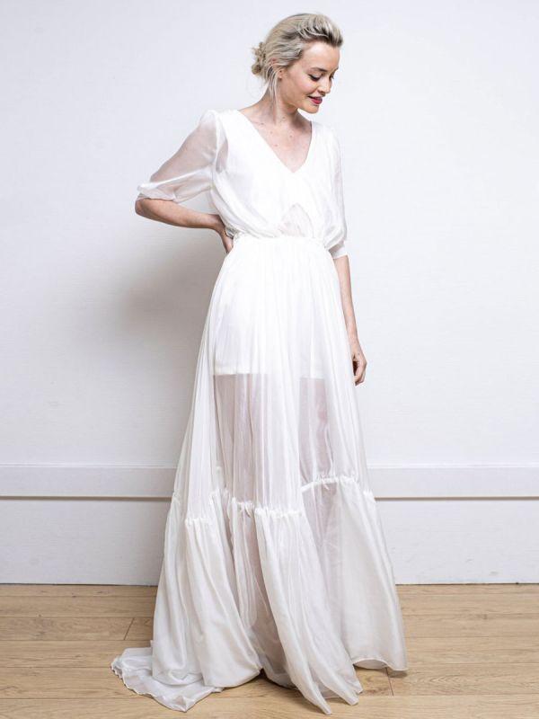 Weißes einfaches Hochzeitskleid A-Linie V-Ausschnitt Halbarm Rückenfrei Tüll Satin Stoff Lange Brautkleider