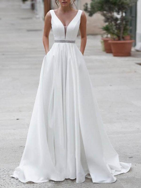Einfache Brautkleider A-Linie V-Ausschnitt Ärmellose Schärpe Bodenlangen Brautkleider Mit Zug