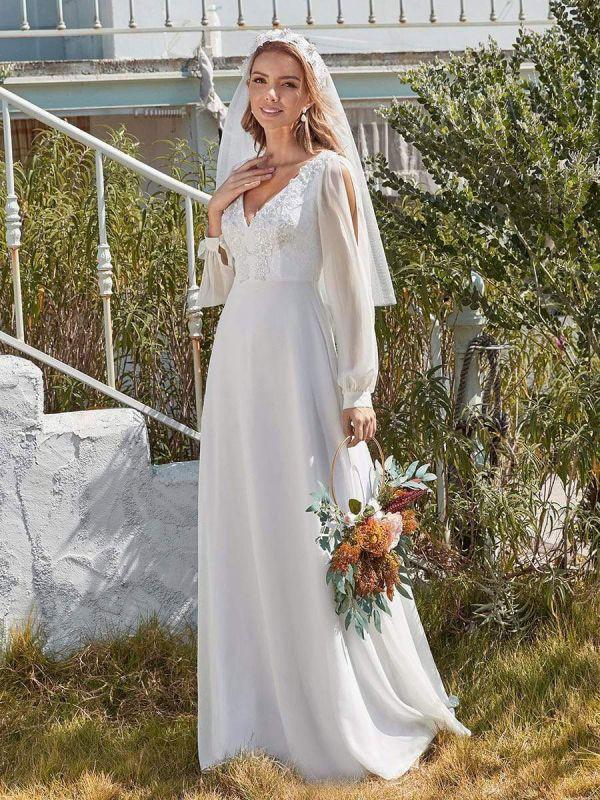 White Simple Wedding Dress A-Line V-Neck Long Sleeves Natural Waist Chiffon Long Bridal Dresses