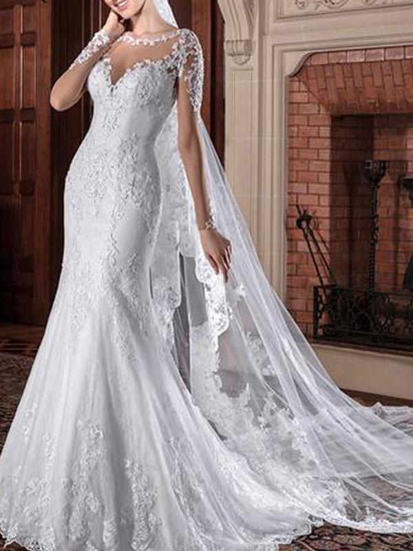 Brautkleider Jewel Neck Long Sleeves Natural Waist Lace Hofzug Brautkleider
