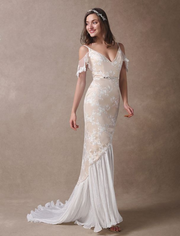 Boho Wedding Dresses Champagne Lace Beach Bridal Dress Mermaid V Neck Backless Beaded Summer Wedding Gowns Exclusive