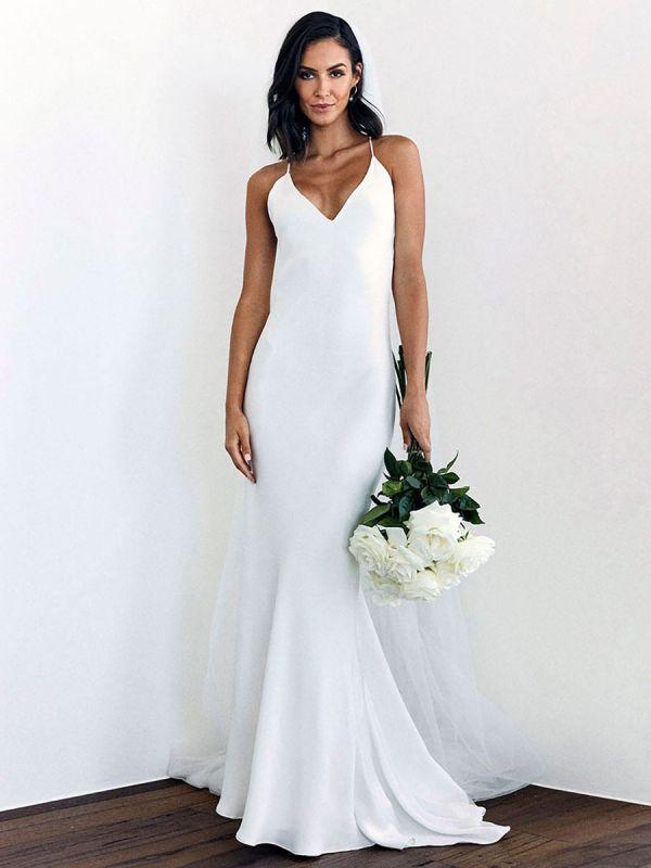 White Simple Wedding Dress Mermaid V-Neck Sleeveless Criss-Cross Spaghetti Straps Lace-Up Backless Satin Fabric Long Bridal Dresses