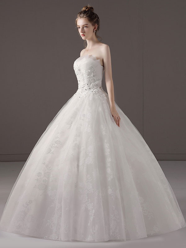 Princess-Ball-Gown-Wedding-Dresses-Strapless-Lace-Applique-Beaded-Ivory-Maxi-Bridal-Dress