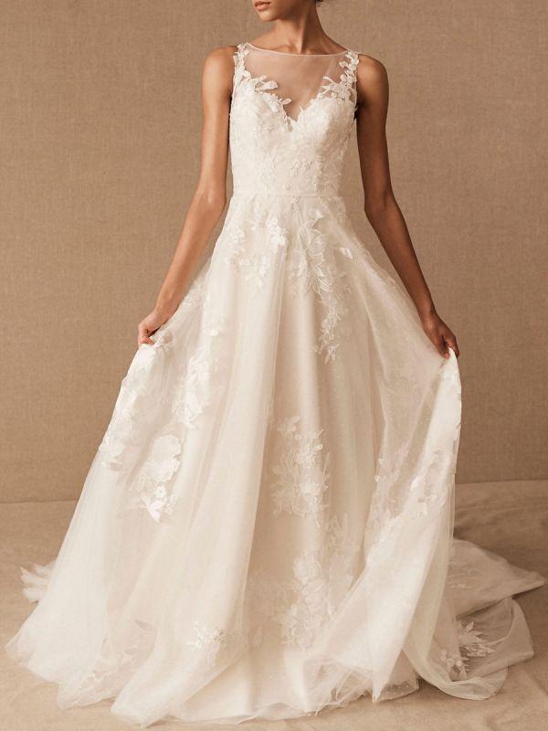Robes De Mariée Vintage Bijou Cou Sans Manches Taille Surélevée Satin Tissu Avec Train Applique Robe De Mariée