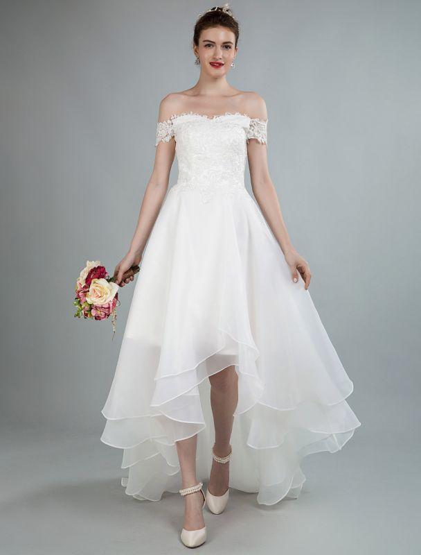 Einfaches Brautkleid A Line Off The Shoulder Ärmellose Spitze Brautkleider Mit Zug Exklusiv