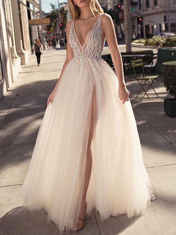 Bridal Dress 2021 A Line V Neck Sleeveless Beaded Court Train Front Split Tulle Bridal Gowns