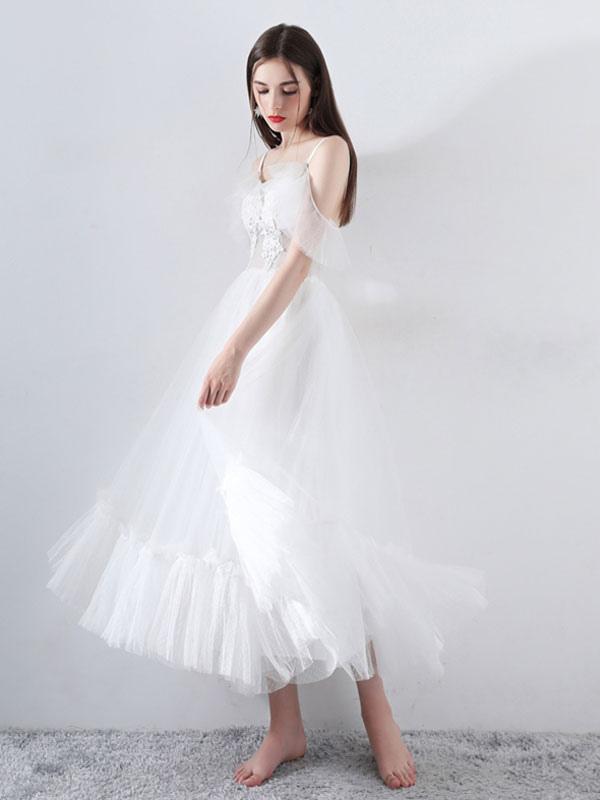 Short Wedding Dress 2021 A Line V Neck Short Sleeves Tea Length Bridal Dresses