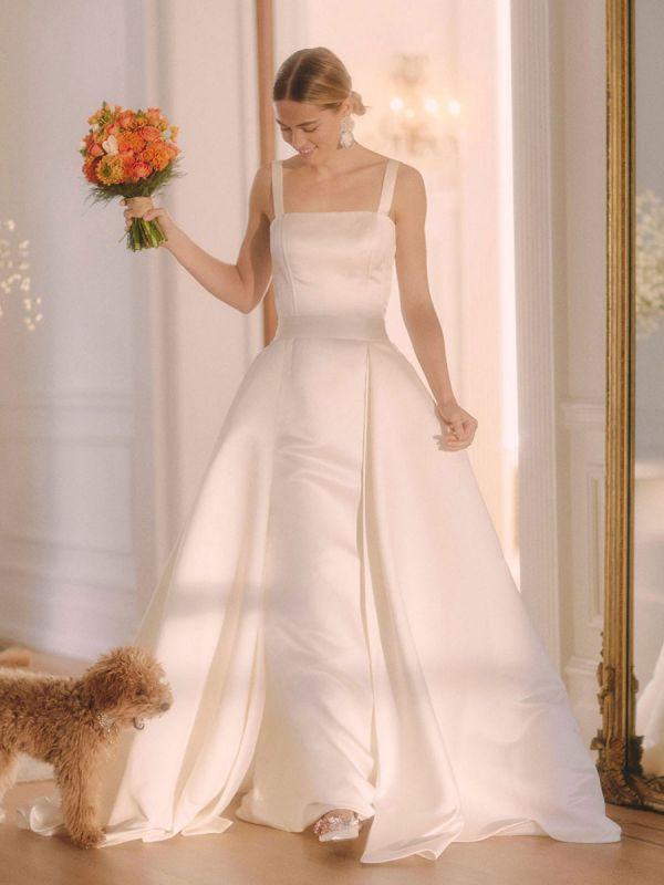 White Vintage Wedding Dresses Strapless Sleeveless Natural Waist Satin Fabric Floor-Length Bridal Gowns