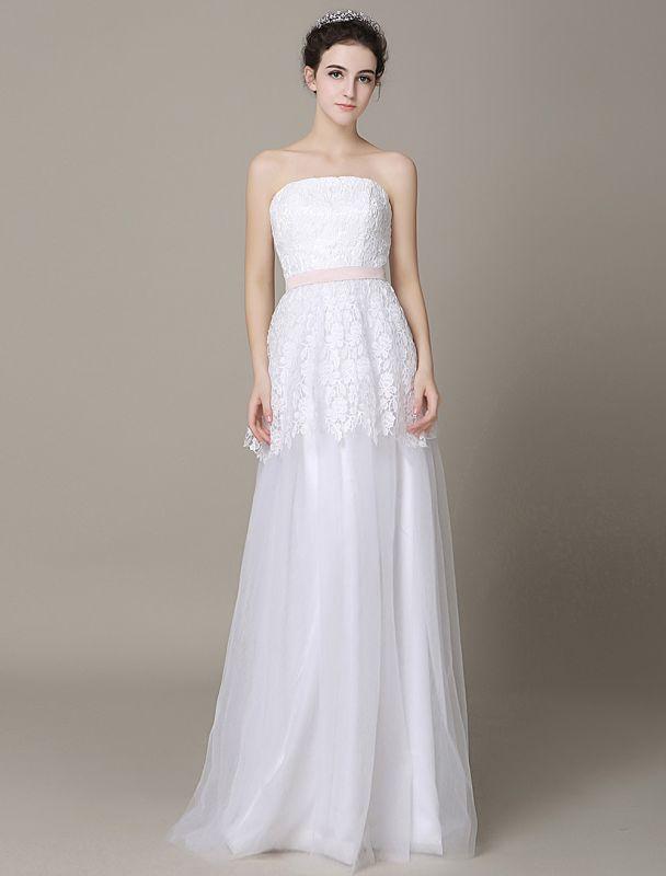 Elfenbein-Hochzeit-Kleid-Trägerlos-Rückenlos-Schärpe-Tüll-Brautkleid-ExklusivEx