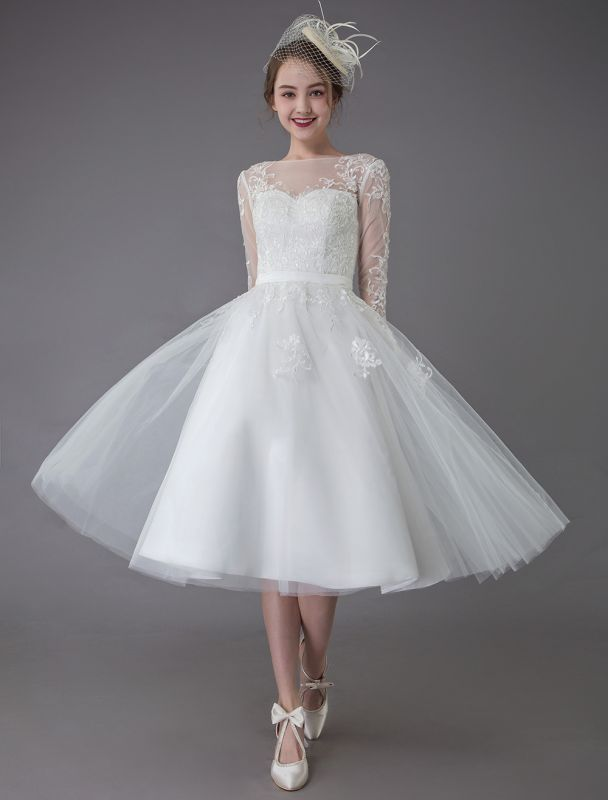 Vintage Wedding Dresses Tulle Bateau 3/4 Length Sleeve A Line Bridal Gown Short Bridal Dress Exclusive