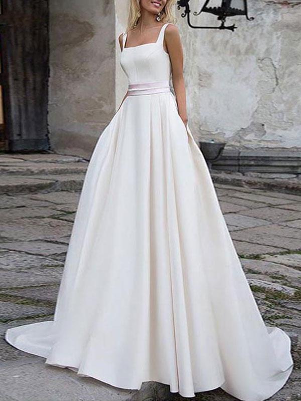 Einfache Hochzeitskleid Satin Stoff Square Neck Ärmellose Schärpe A Line Brautkleider