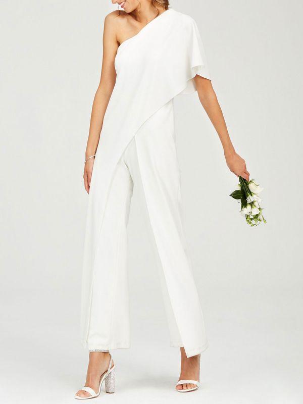 Einfache Hochzeits-Overalls Elfenbein One Shoulder Culottes Brautkleid