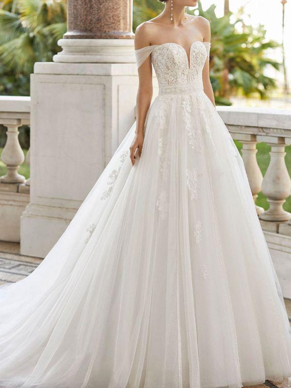 Brautkleid mit Zug V-Ausschnitt Ärmellos Schulterfrei Spitze Tüll Brautkleider
