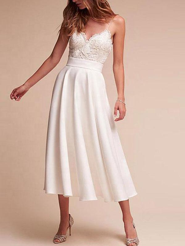 Robe de mariée courte col en V sans manches une ligne longueur de thé bretelles robes de mariée