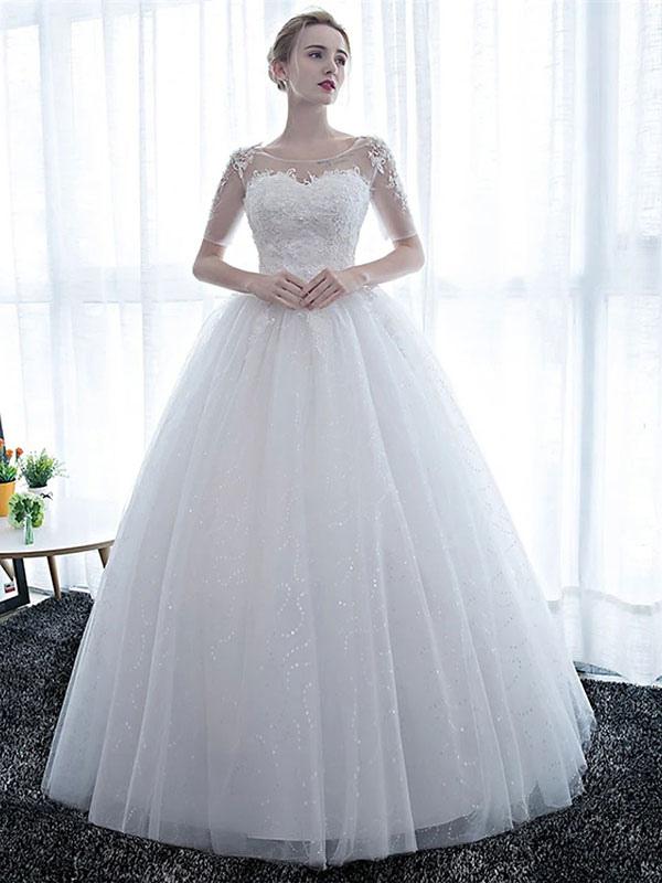 Elegant Wedding Dresses White Off The Shoulder Half Sleeves Soft Tulle Lace Up Floor Length Bride Dresses