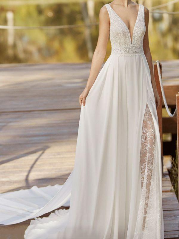 Spitze Brautkleid mit Zug A-Linie Ärmellos Chiffon Illusion Ausschnitt Lange Brautkleider