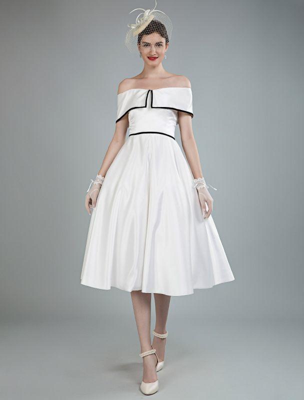 Vintage Brautkleider Satin Schulterfrei A Line Tee Länge Kurze Brautkleider Exklusiv