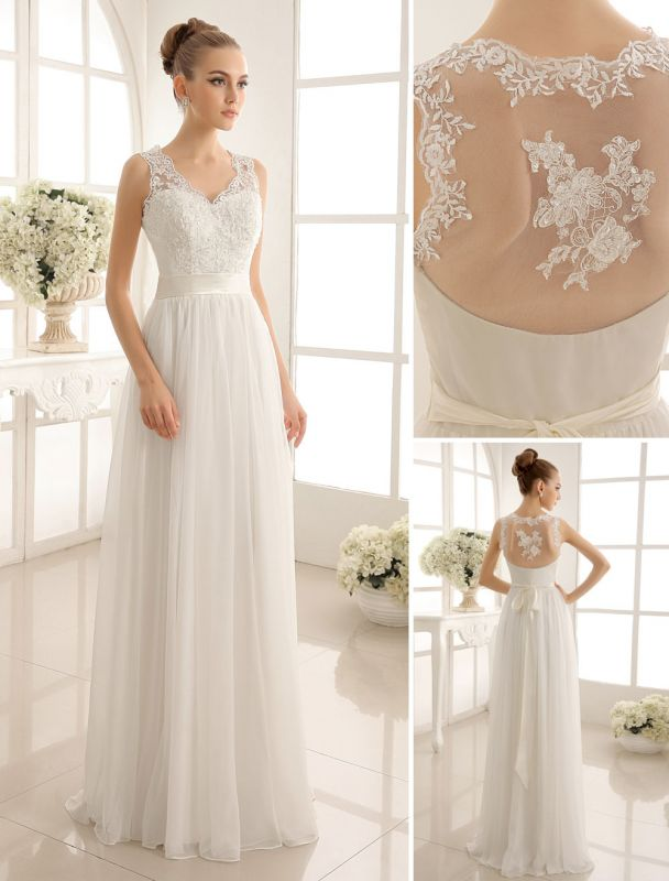 Ivory Wedding Dress Lace Sash Bow Sequins Wedding Gown Exclusive