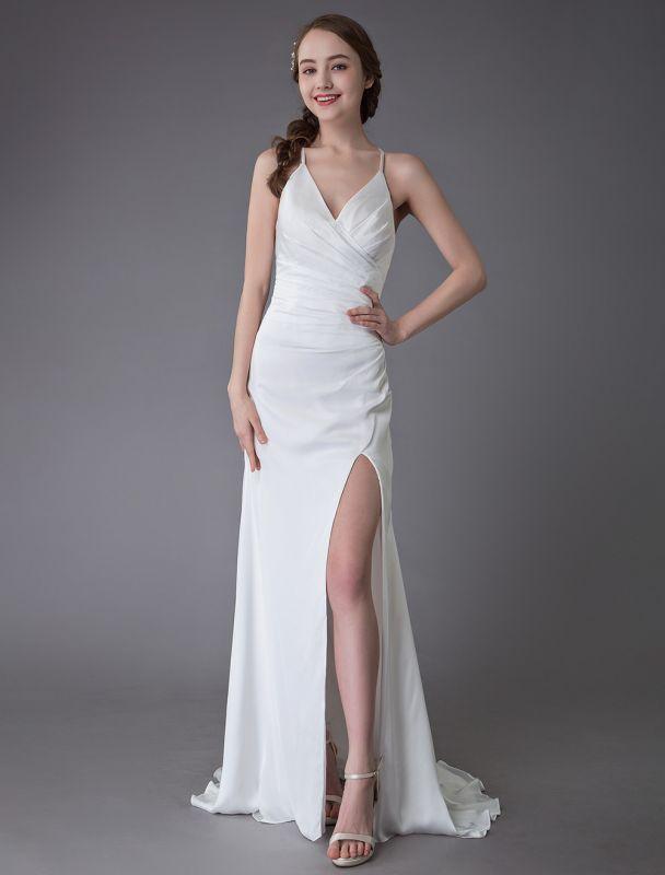 Beach Wedding Dresses Sexy Bridal Dress High Split Ivory Sheath Straps Summer Wedding Gowns Exclusive