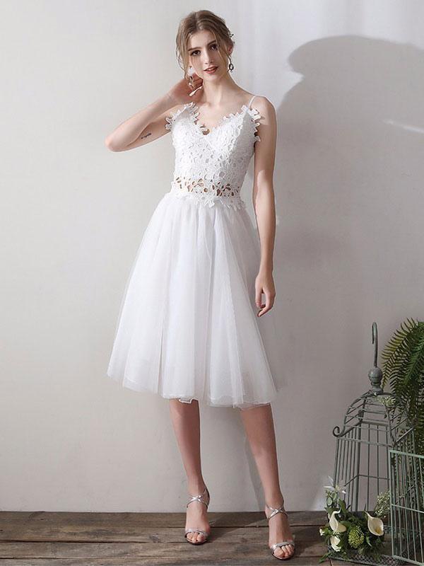 Short Wedding Dresses V Neck Sleeveless A Line Natural Tea Length Waist Organza Bridal Dresses