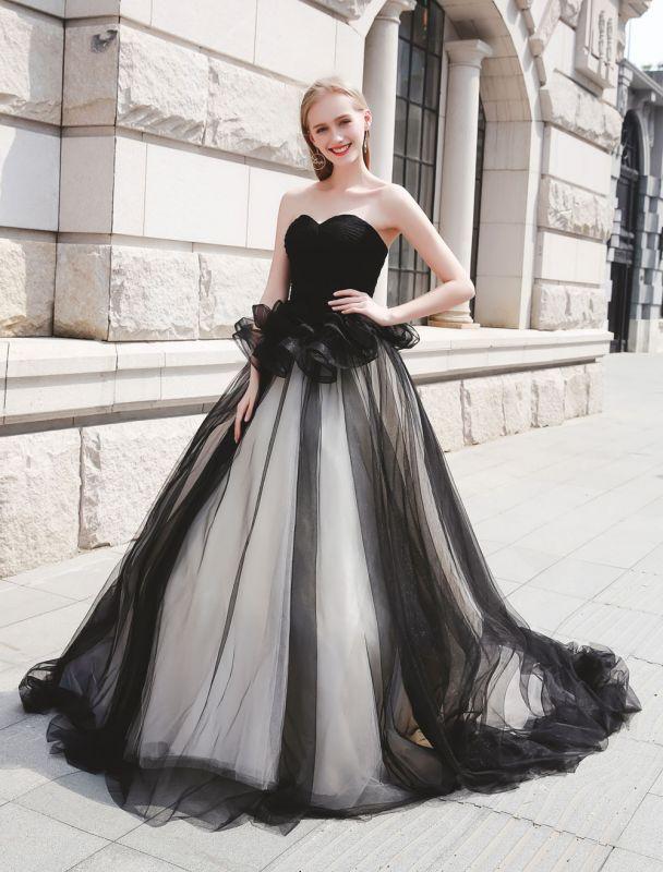 Schwarzes Festzug Partykleid Frauen Trägerlose Tüll Luxus Prinzessin Kleider