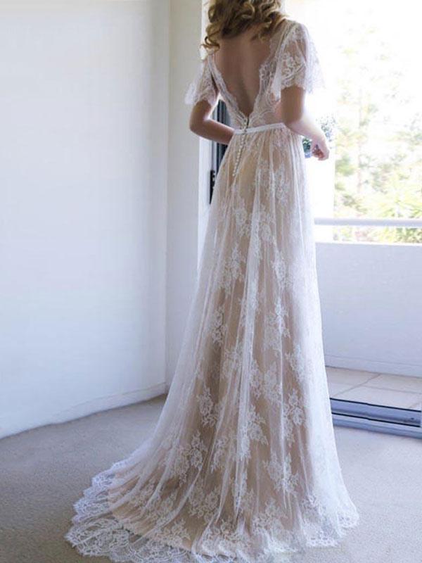 Einfaches Hochzeitskleid 2021 V-Ausschnitt A-Linie Kurzarm Tiefes V Backless Lace Brautkleider