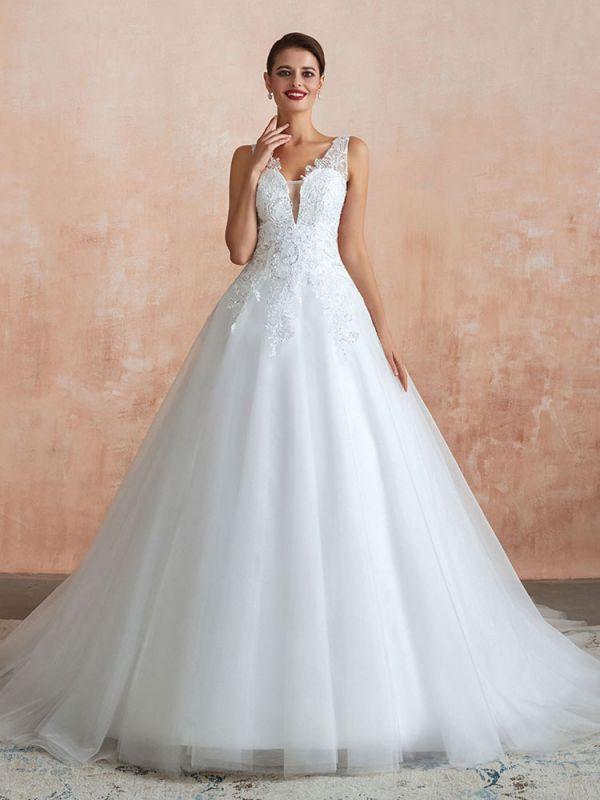 Wedding Dress 2021 V Neck Princess Sleeveless Floor Length Tulle Bridal Gown With Train