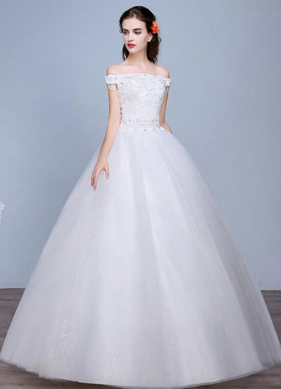 Lace Wedding Dress Off The Shoulder Floor Length Lace Up Applique Bridal Dress With Beads Sequins
