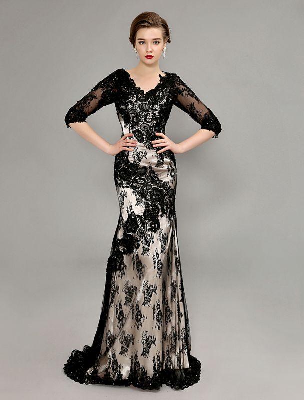 Black Wedding Dress Lace Mermaid V-Neck Dress With 3/4 Sleeves