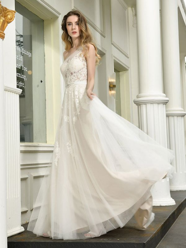 Bridal Dress 2021 One Shoulder Sleeveless Buttons Bridal Dresses With Train