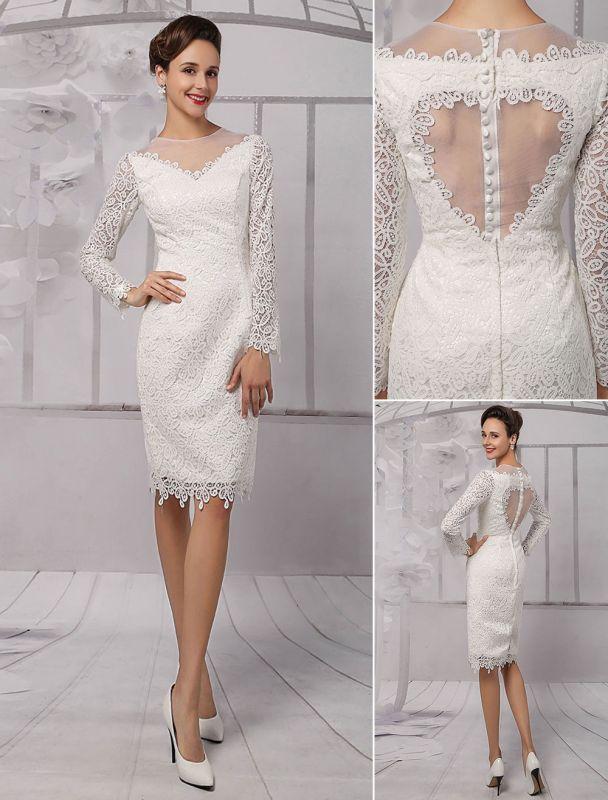 Einfache Brautkleider 2021 Kurze Langarm Illusion Ausschnitt Koyhole Knielangen Mantel Brautkleid Exklusiv