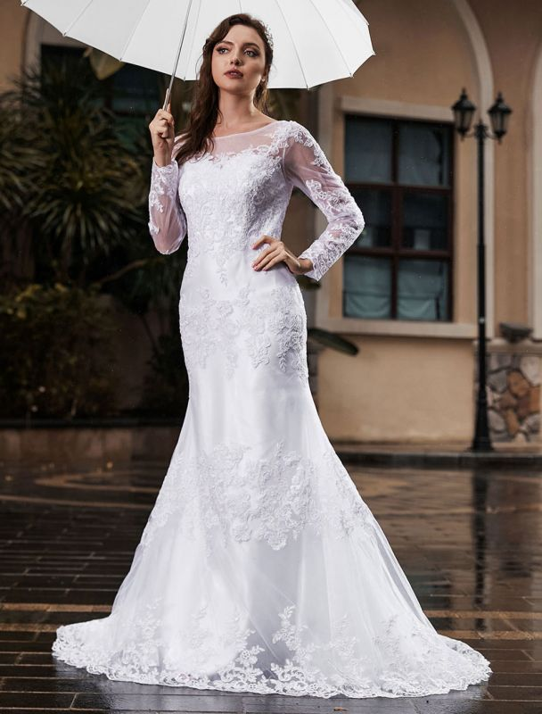 Lace Wedding Dress Ivory White Jewel Neck Long Sleeves With Train Tulle Bridal Gowns Maxi Wedding Dress