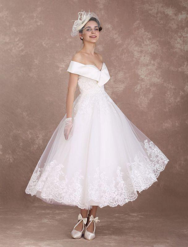 Vintage Wedding Dresses Off The Shoulder Short Bridal Dress 1950'S Lace Applique Beaded Tea Length Wedding Reception Dress Exclusive