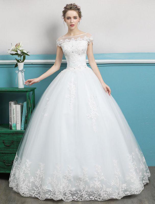 Prinzessin Brautkleider Ballkleider Spitze Perlen Elfenbein bodenlangen Brautkleid
