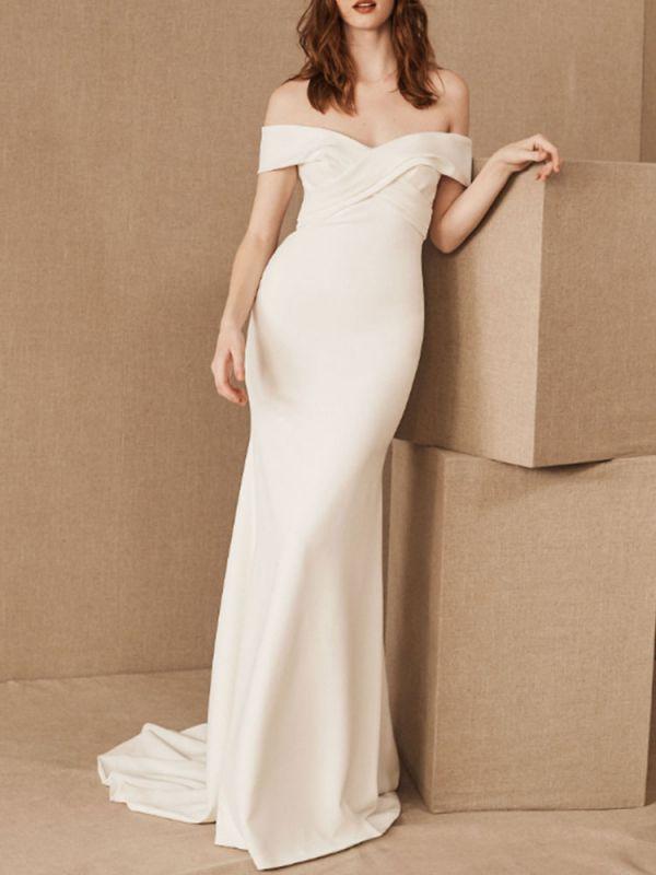 Einfache Brautkleider Satin schulterfrei Plissee bodenlangen Kapelle-Schleppe Brautkleid