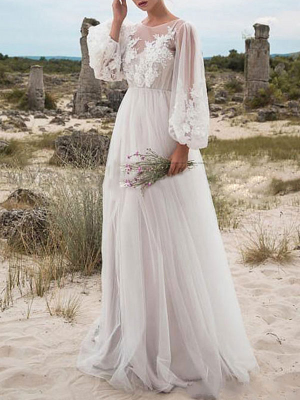 Simple Wedding Dress A Line Tulle Jewel Neck Long Sleeves Lace Bridal Dresses