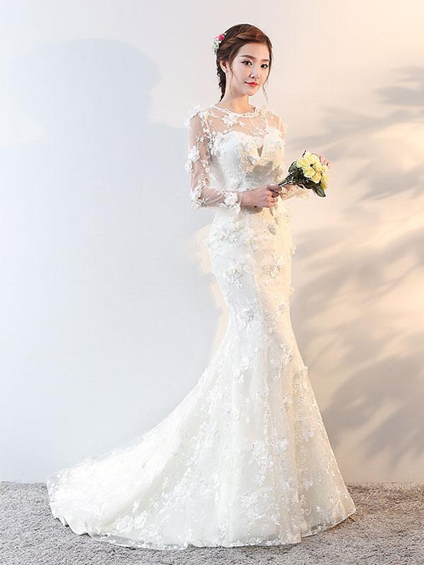 Brautkleider Langarm Meerjungfrau Blumen Applique Bows Elfenbein Brautkleid mit Zug