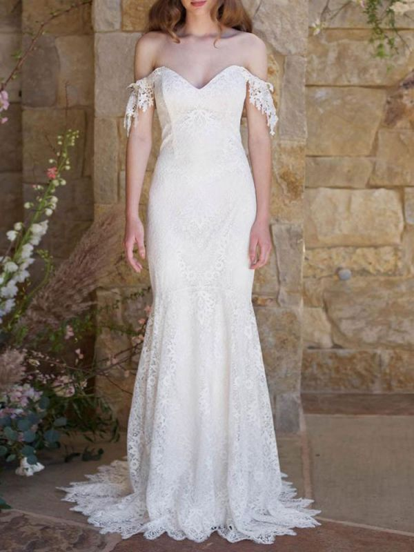 Simple Wedding Dresses 2021 Lace Sweetheart Off The Shoulder Mermaid Bridal Gown With Train For Boho Wedding