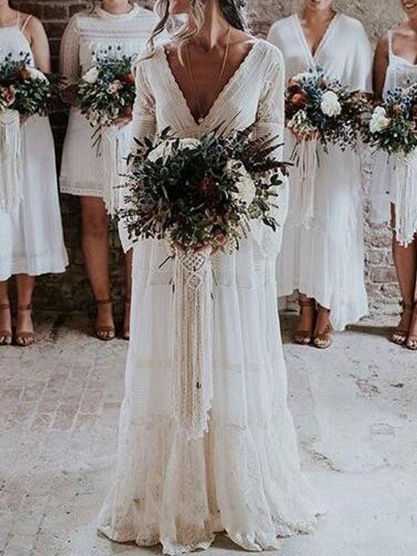 Boho Wedding Dresses 2021 A Line Deep V Neck Multilayer Lace Chiffon Beach Party Dress Bridal Gowns