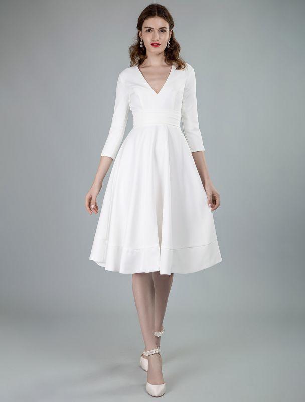 Kurze Brautkleider V-Ausschnitt 3/4 Ärmel A-Linie Knielanges Brautkleid Exklusiv