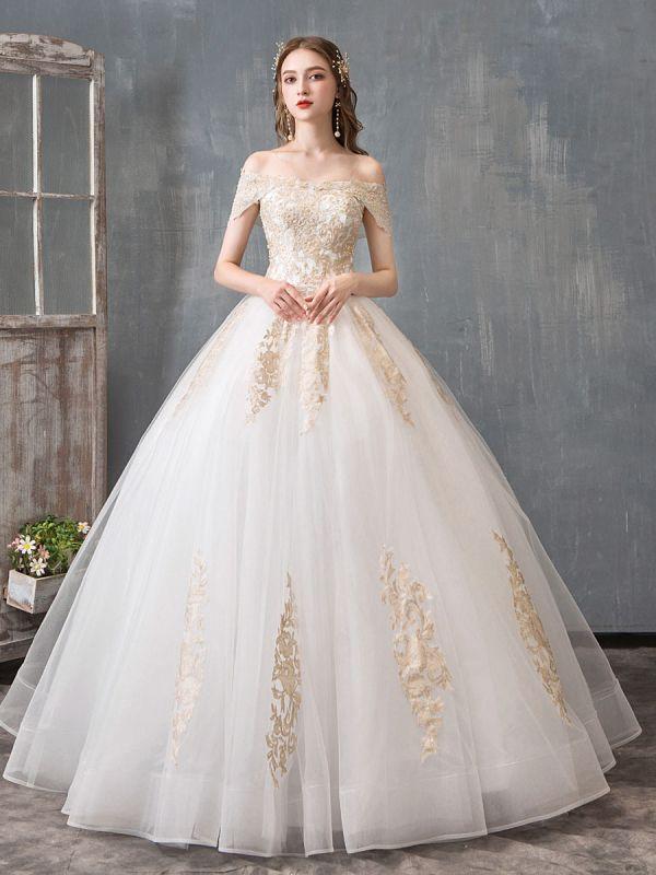 Brautkleider 2021 Ballkleid Schulterfrei Goldene Spitze Applizierte bodenlange Brautkleid
