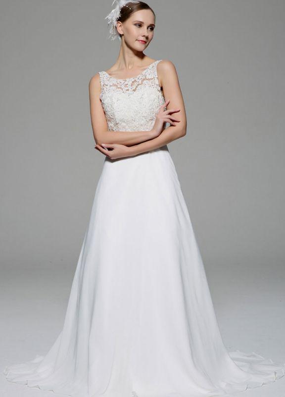 Ivory Wedding Dress Illusion Rhinestone Lace Satin Wedding Gown